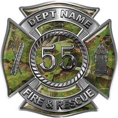 Personalized Fire Fighter Decal with Your Number in Camouflage
