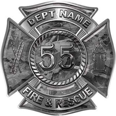 Personalized Fire Fighter Decal with Your Number in Blue Camouflage