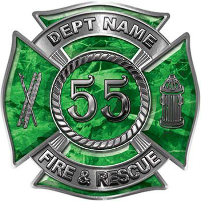 Personalized Fire Fighter Decal with Your Number in Green Camouflage
