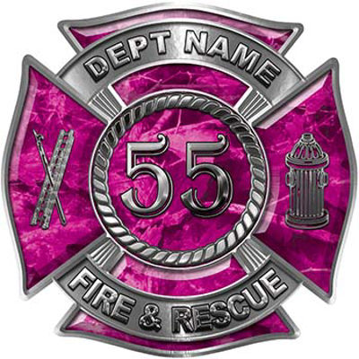 Personalized Fire Fighter Decal with Your Number in Pink Camouflage
