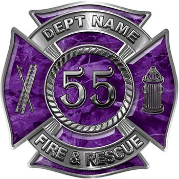 Personalized Fire Fighter Decal with Your Number in Purple Camouflage