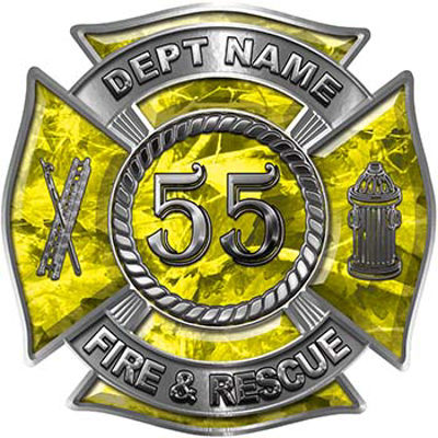 Personalized Fire Fighter Decal with Your Number in Yellow Camouflage