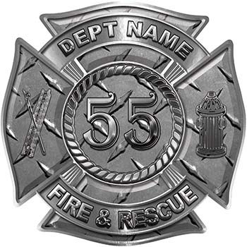 Personalized Fire Fighter Decal with Your Number in Diamond Plate