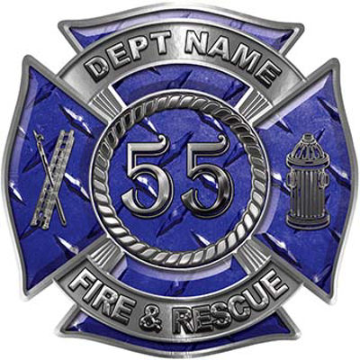 Personalized Fire Fighter Decal with Your Number in Blue Diamond Plate