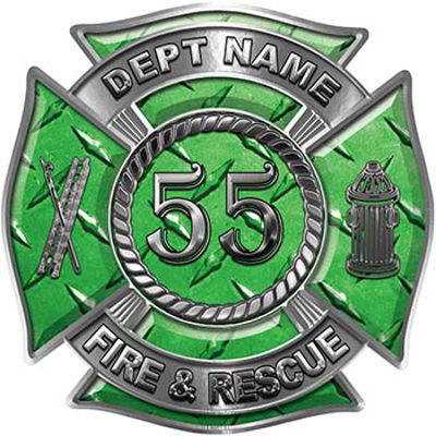 Personalized Fire Fighter Decal with Your Number in Green Diamond Plate