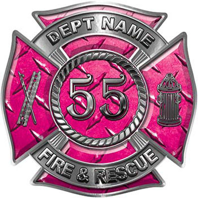 Personalized Fire Fighter Decal with Your Number in Pink Diamond Plate