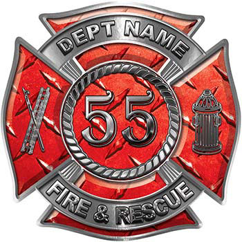 Personalized Fire Fighter Decal with Your Number in Red Diamond Plate
