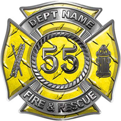 Personalized Fire Fighter Decal with Your Number in Yellow Diamond Plate