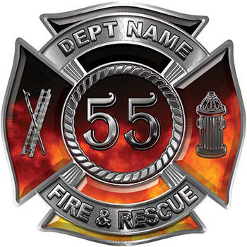 Personalized Fire Fighter Decal with Your Number in Real Fire