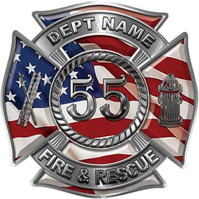 Personalized Fire Fighter Decal with Your Number with American Flag