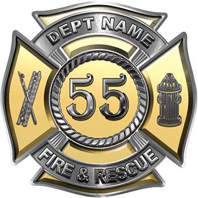 Personalized Fire Fighter Decal with Your Number in Gold