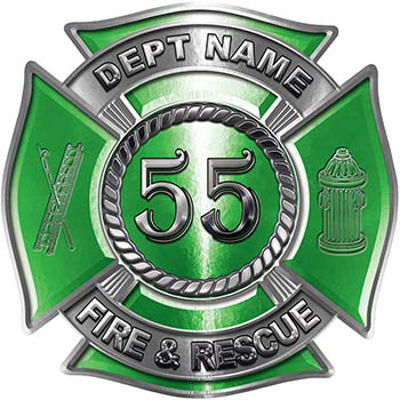 Personalized Fire Fighter Decal with Your Number in Green