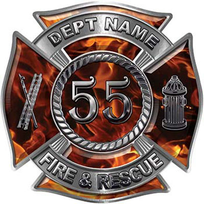 Personalized Fire Fighter Decal with Your Number in Inferno