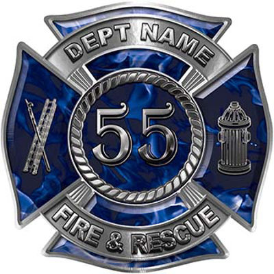 Personalized Fire Fighter Decal with Your Number in Blue Inferno