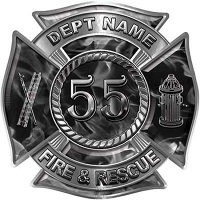 Personalized Fire Fighter Decal with Your Number in Gray Inferno