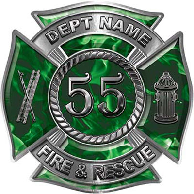 Personalized Fire Fighter Decal with Your Number in Green Inferno