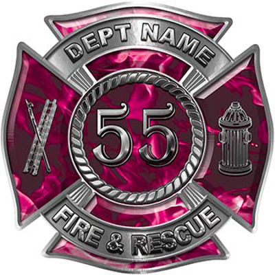 Personalized Fire Fighter Decal with Your Number in Pink Inferno