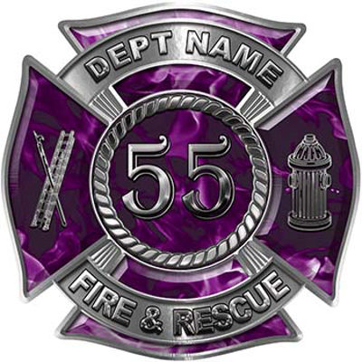Personalized Fire Fighter Decal with Your Number in Purple Inferno