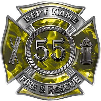 Personalized Fire Fighter Decal with Your Number in Yellow Inferno