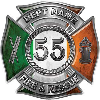 Personalized Fire Fighter Decal with Your Number with Irish Flag