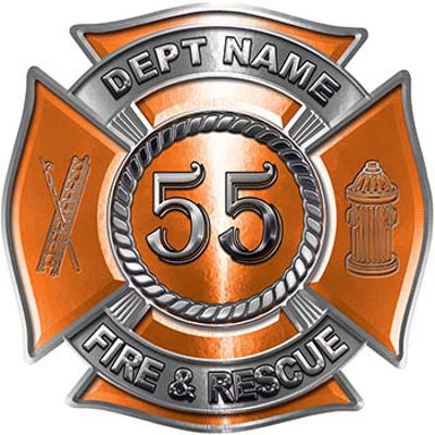 Personalized Fire Fighter Decal with Your Number in Orange
