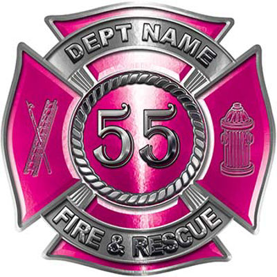 Personalized Fire Fighter Decal with Your Number in Pink