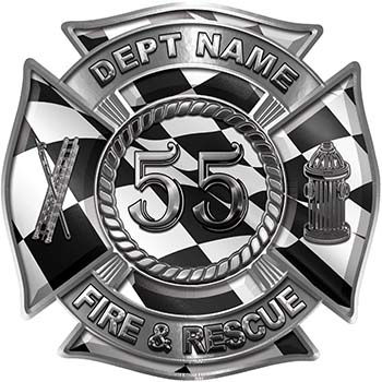 Personalized Fire Fighter Decal with Your Number with Racing Checkered Flag