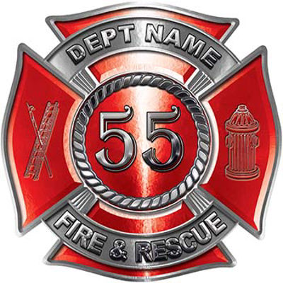 Personalized Fire Fighter Decal with Your Number in Red