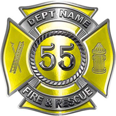 Personalized Fire Fighter Decal with Your Number in Yellow