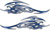 Tribal Scroll Style Flame Graphics with Silver Outline in Blue