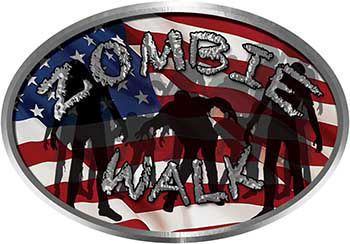 Oval Zombie Walk with American Flag