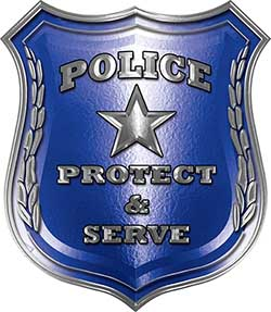Protect and Serve Police Law Enforcement Decal in Blue