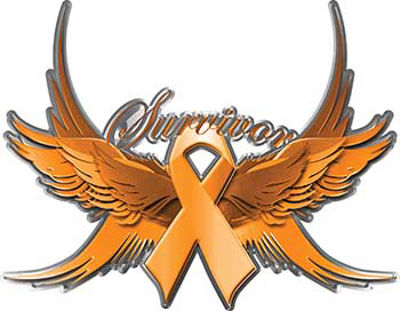 Appendix Cancer Survivor Amber Ribbon with Flying Wings Decal