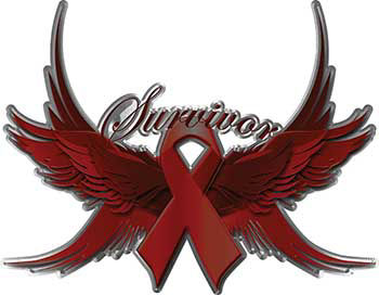 Multiple Myeloma Survivor Burgandy Ribbon with Flying Wings Decal