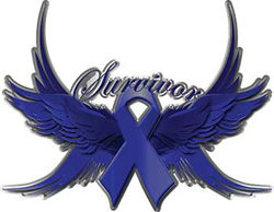 Colon Cancer Survivor Dark Blue Ribbon with Flying Wings Decal