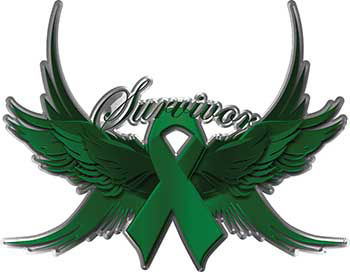Liver Cancer Survivor Emerald Green Ribbon with Flying Wings Decal