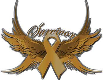 Childhood Cancer Survivor Gold Ribbon with Flying Wings Decal