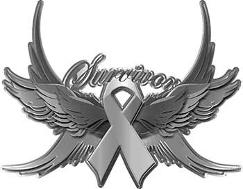Brain Cancer Survivor Gray Ribbon with Flying Wings Decal