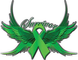 Gallbladder Bile Duct Cancer Survivor Kelly Green Ribbon with Flying Wings Decal
