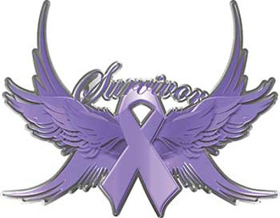 All Cancers Survivor Lavender Ribbon with Flying Wings Decal