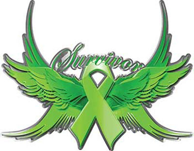Lypmhoma Cancer Survivor Lime Green Ribbon with Flying Wings Decal
