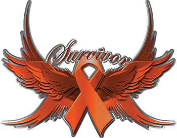 Leukemia or Kidney Cancer Survivor Orange Ribbon with Flying Wings Decal