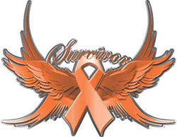 Uterine Cancer Survivor Peach Ribbon with Flying Wings Decal