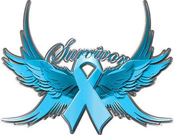 Esophageal Cancer Survivor Periwinkle Ribbon with Flying Wings Decal