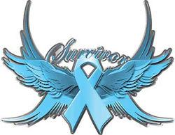 Ovarian Cancer Survivor Light Blue Ribbon with Flying Wings Decal