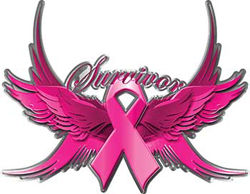 Braest Cancer Survivor Pink Ribbon with Flying Wings Decal