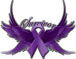 Pancreatic Cancer Survivor Purple Ribbon with Flying Wings Decal