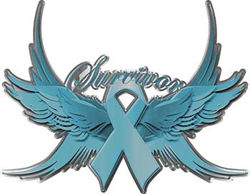 Ovarian Cancer Survivor Teal Ribbon with Flying Wings Decal