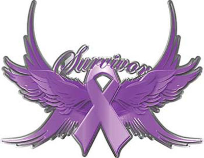 Hodgkin's Lymphoma Cancer Survivor Violet Ribbon with Flying Wings Decal
