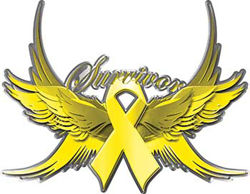 Sarcoma / Bone Cancer Survivor Yellow Ribbon with Flying Wings Decal